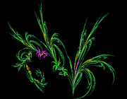 Fractal Designs Prints - Fractal Flowers Print by Sandy Keeton