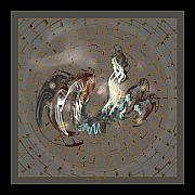 Sherry Holder Hunt Posters - Fractal Flying Dragon I Poster by Sherry Holder Hunt