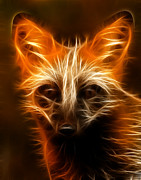 Canid Framed Prints - Fractal Fox Framed Print by Wade Aiken