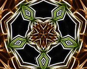 Green And Brown Framed Prints - Fractal Kaleidoscope Framed Print by Cheryl Young