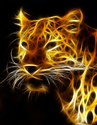 Whiskers Prints - Fractal Leopard Print by Wade Aiken