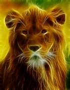 Feline Digital Art - Fractal Lion by Wade Aiken