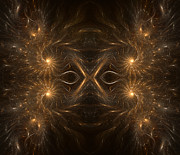 Generated Glow Glowing Posters - Fractal Masquerade Poster by Janeen Wassink Searles