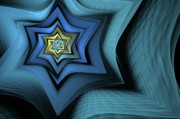 Fractal Digital Art Posters - Fractal Star Poster by John Edwards