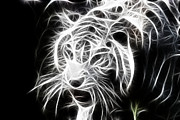 Tiger Fractal Photos - Fractal Tiger by Sheri Bartay