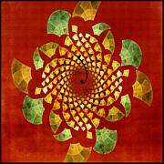 Fall Colors Autumn Colors Mixed Media Posters - Fractal Twirl Poster by Bonnie Bruno