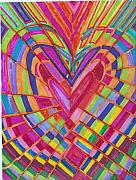 Seventies Painting Posters - Fractured Heart Poster by Brenda Adams
