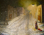 Snow Scene Paintings - FRACTURED MEMORIES Waiting for Mama by Adele Soll Aronson