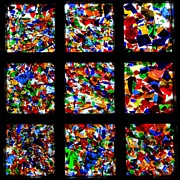 Colored Glass Art Metal Prints - Fractured Squares Metal Print by Meandering Photography