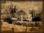 Weathered Digital Art Prints - Fragmented Barn  Print by Julie Hamilton