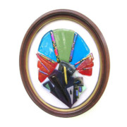 Fused Glass Glass Art - Framed Glass Fan by Marilyn Catlow