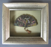 Brass Etching Sculptures - Framed Hummingbird and Honeysuckle Framed Miniature by Brenda Berdnik