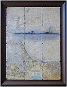 Hull Mixed Media Prints - Framed Nautical Chart of Hingham and Hull with Boston Light  Print by Creative Images on Tile