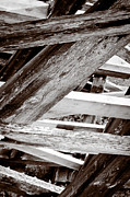 Framework Kinsol Trestle Wooden Frame In Abstract Black And White Print by Andy Smy