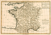 Europe Drawings Metal Prints - France by Regions Metal Print by Guillaume Raynal
