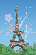 Paris Digital Art Framed Prints - France, Paris, Eiffel Tower, Capital Cities Framed Print by IMAGEMORE Co, Ltd.