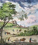 Drawn Prints - France: Ploughing, 1763 Print by Granger