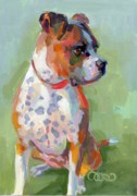 Boxer Portrait Paintings - Frances by Kimberly Santini