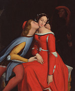 Couple In Love Paintings - Francesca da Rimini and Paolo Malatestascene  by jean Auguste Dominique Ingres