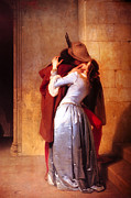 1859 Painting Metal Prints - Francesco Hayez Il Bacio or The Kiss Metal Print by Pg Reproductions