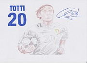 David Beckham Drawings - Francesco Totti by Toni Jaso