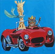 Sportscar Paintings - Francie and Friends Go for a Drive by James Scrivano