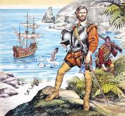 Colonisation Painting Prints - Francis Drake and the Golden Hind Print by Ron Embleton