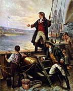 Flag Of Usa Posters - Francis Scott Key, 1779-1843 Awakes Poster by Everett