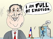 News Mixed Media - Francois Hollande full of Emotion caricature by OptionsClick BlogArt