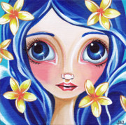  Hippie Painting Prints - Frangipani Fairy Print by Jaz Higgins