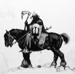 Blood Drawings - Frank Frazettas - Death Dealer by Devaron Jeffery