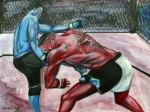 Championship Mixed Media - Frank Mir vs. Brock Lesnar by Michael Cook