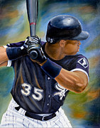 White Sox Paintings - Frank Thomas by Angela  Villegas