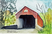 Covered Bridge Painting Metal Prints - Frankenfield Covered Bridge Bucks County PA Metal Print by Paul E Temple