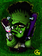 Halloween Artwork Mixed Media - Frankenstein And Bride  by Alfonso  f Gallegos