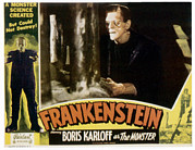 Lobbycard Prints - Frankenstein, Boris Karloff On 1951 Print by Everett