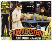Horror Movies Posters - Frankenstein, From Left Boris Karloff Poster by Everett