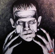 Horror Movies Painting Framed Prints - Frankenstein Framed Print by Justin Coffman