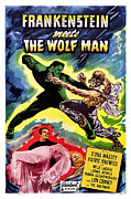 Wolfman Framed Prints - Frankenstein Meets The Wolf Man, Bottom Framed Print by Everett