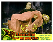 Lobbycard Framed Prints - Frankenstein Meets The Wolf Man, Main Framed Print by Everett
