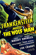 Wolfman Framed Prints - Frankenstein Meets The Wolf Man, Top Framed Print by Everett