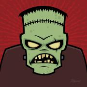 Green Monster Digital Art Prints - Frankenstein Monster Print by John Schwegel