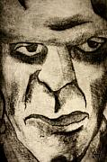 Boris Drawings - Frankenstein Scratch Print by Sam Hane