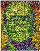 Green Monster Prints - Frankenstein Smiley Face Mosaic Print by Paul Van Scott