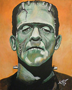 Horror Paintings - Frankenstein by Tom Carlton