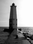 Angular Metal Prints - Frankfort Michigan Lighthouse ll Metal Print by Michelle Calkins