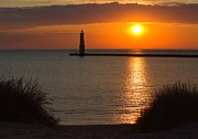 Beach Photograph Photos - Frankfort Michigan Sunset by Twenty Two North Gallery