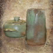Textured Vase Framed Prints - Frankhoma Pottery Framed Print by Betty LaRue
