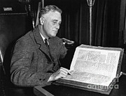 44th President Art - Franklin D. Roosevelt, 32nd American by Photo Researchers