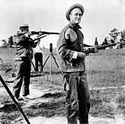 Franklin Roosevelt On A Rifle Range Print by Everett
